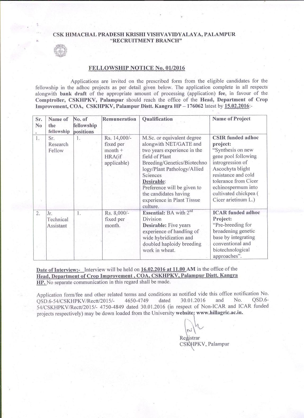 CSK HPKV, Palampur (Job Advertisement)