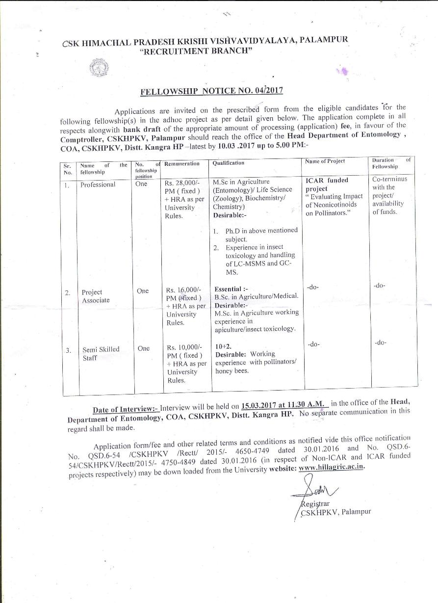 CSK HPKV, Palampur (Job Advertisement)